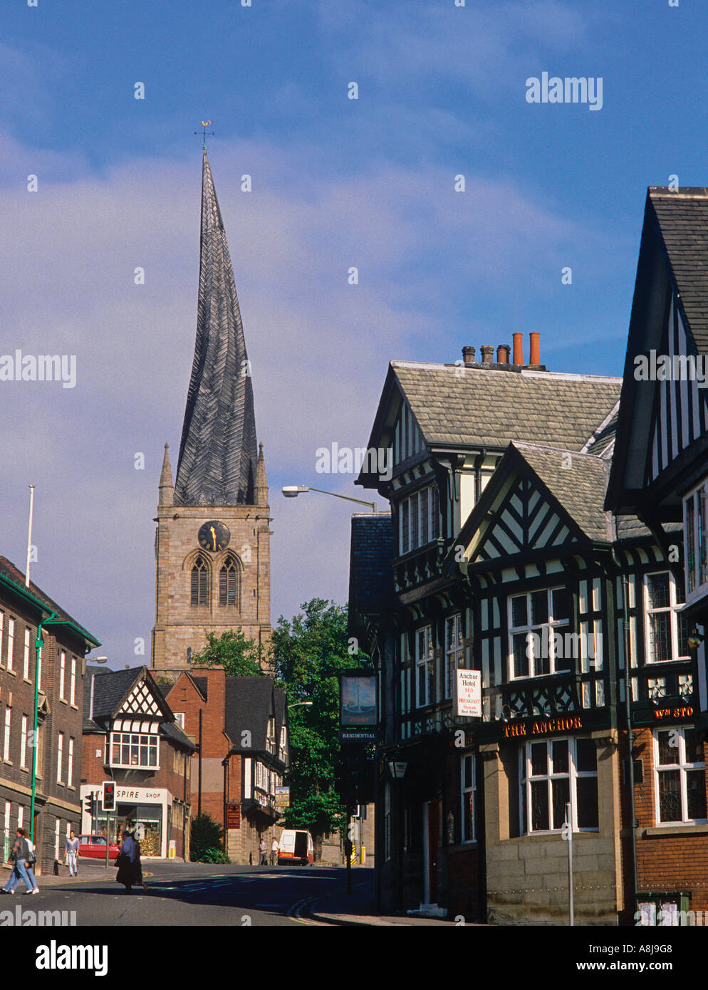 The twisted Spire of the Church of St Mary and All Saints in Chesterfield - Stock Image