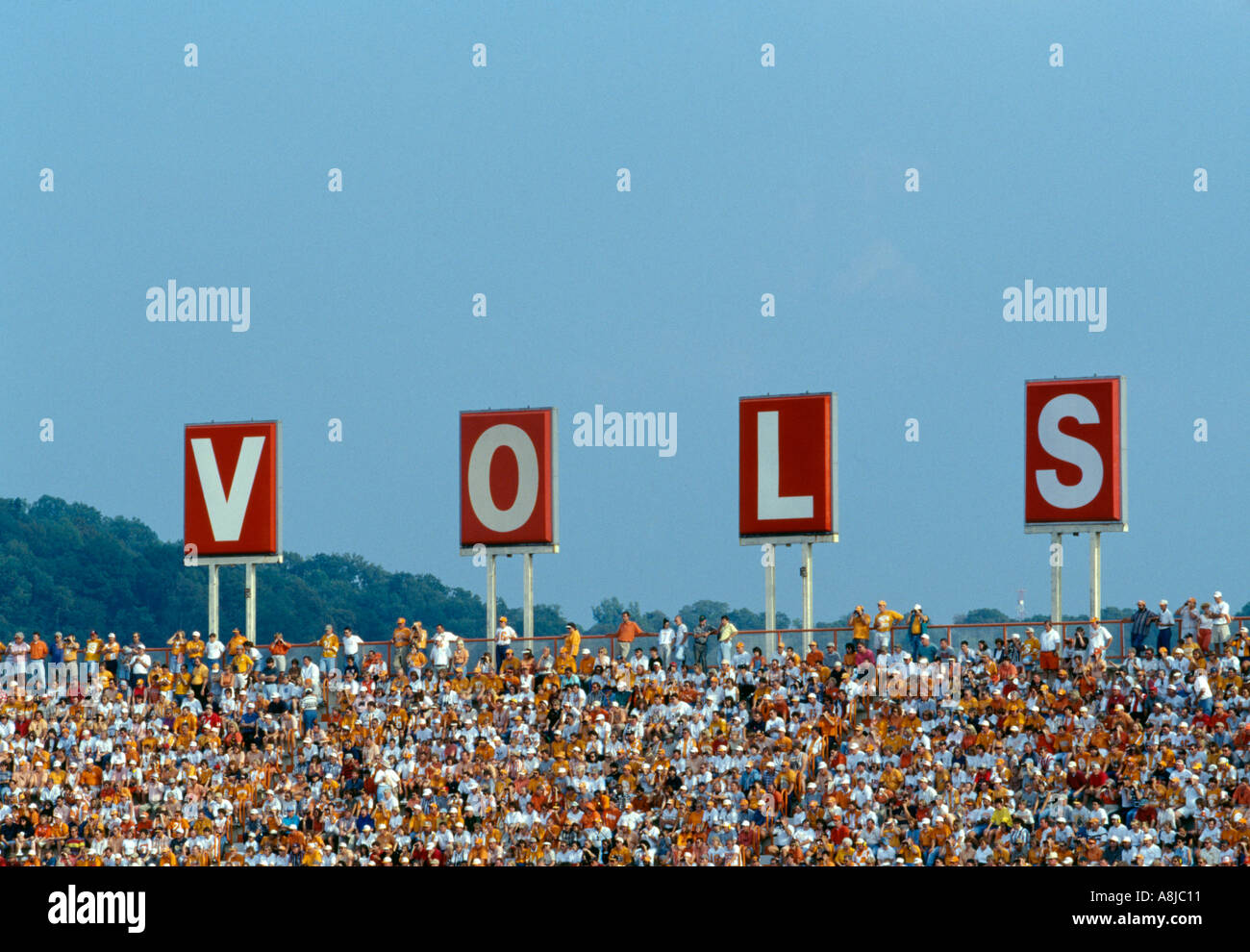 Crowd in UT stadium Knoxville TN - Stock Image