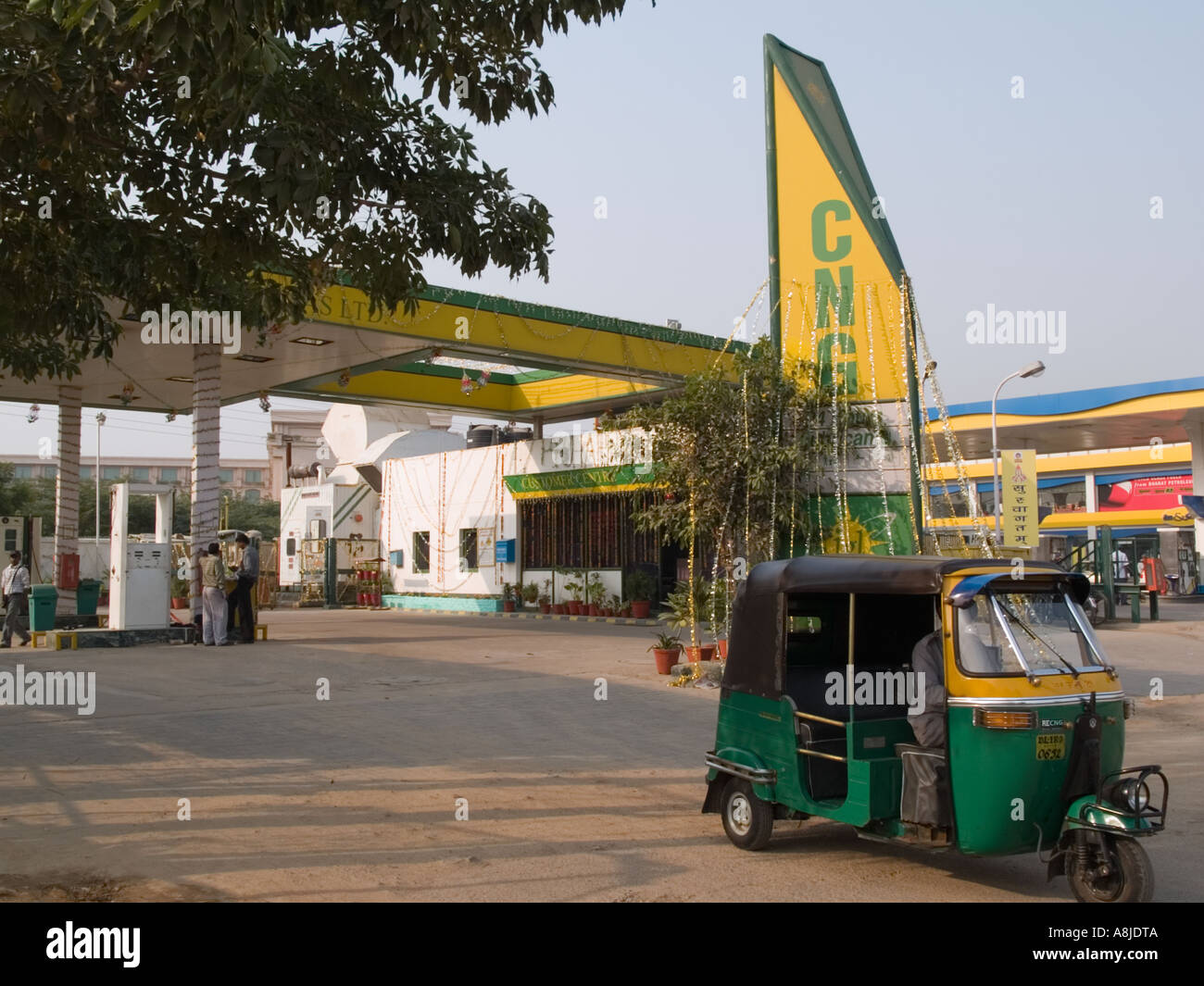 Gas station selling Compressed Natural Gas CNG . Delhi Uttar Pradesh India Asia - Stock Image