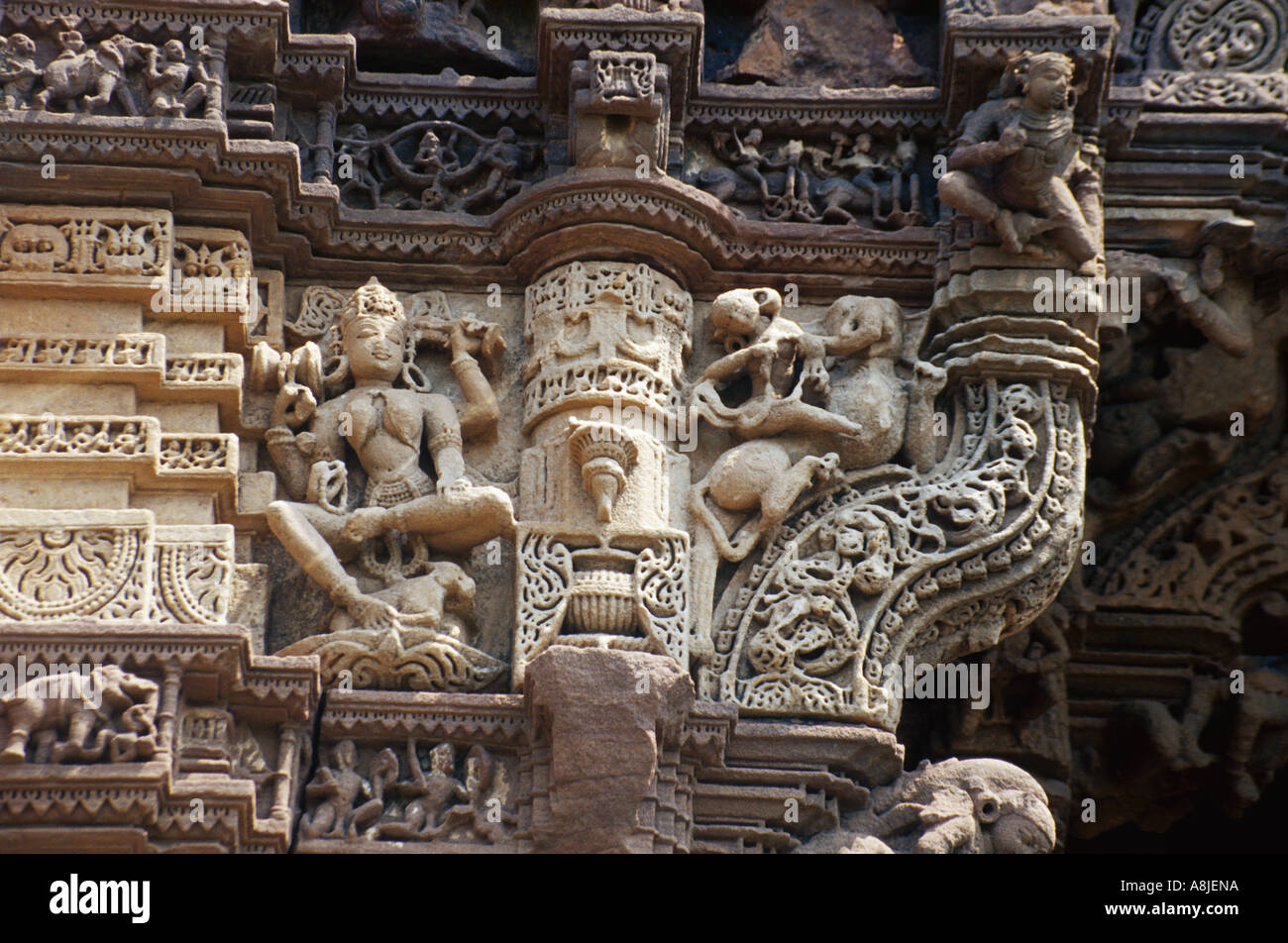 Exterior of ancient Indian architecture low angle view Stock