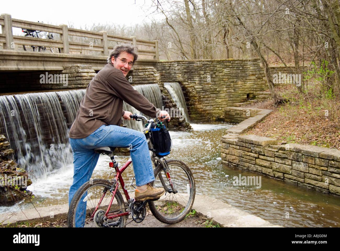 Bike Ride to Dam - Stock Image