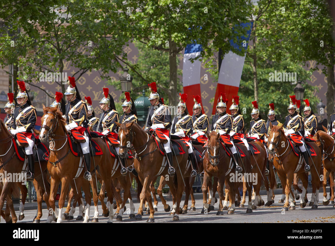 French Cavalry Presidential escort on the Champs Elysses Paris France - Stock Image
