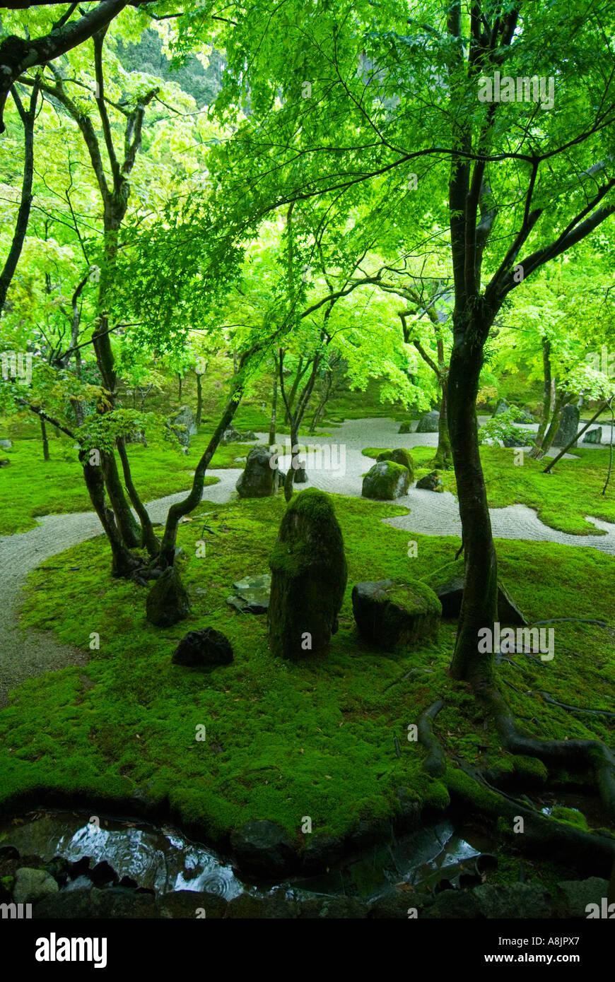 Detail of zen garden at Dazaifu temple Fukuoka Japan - Stock Image