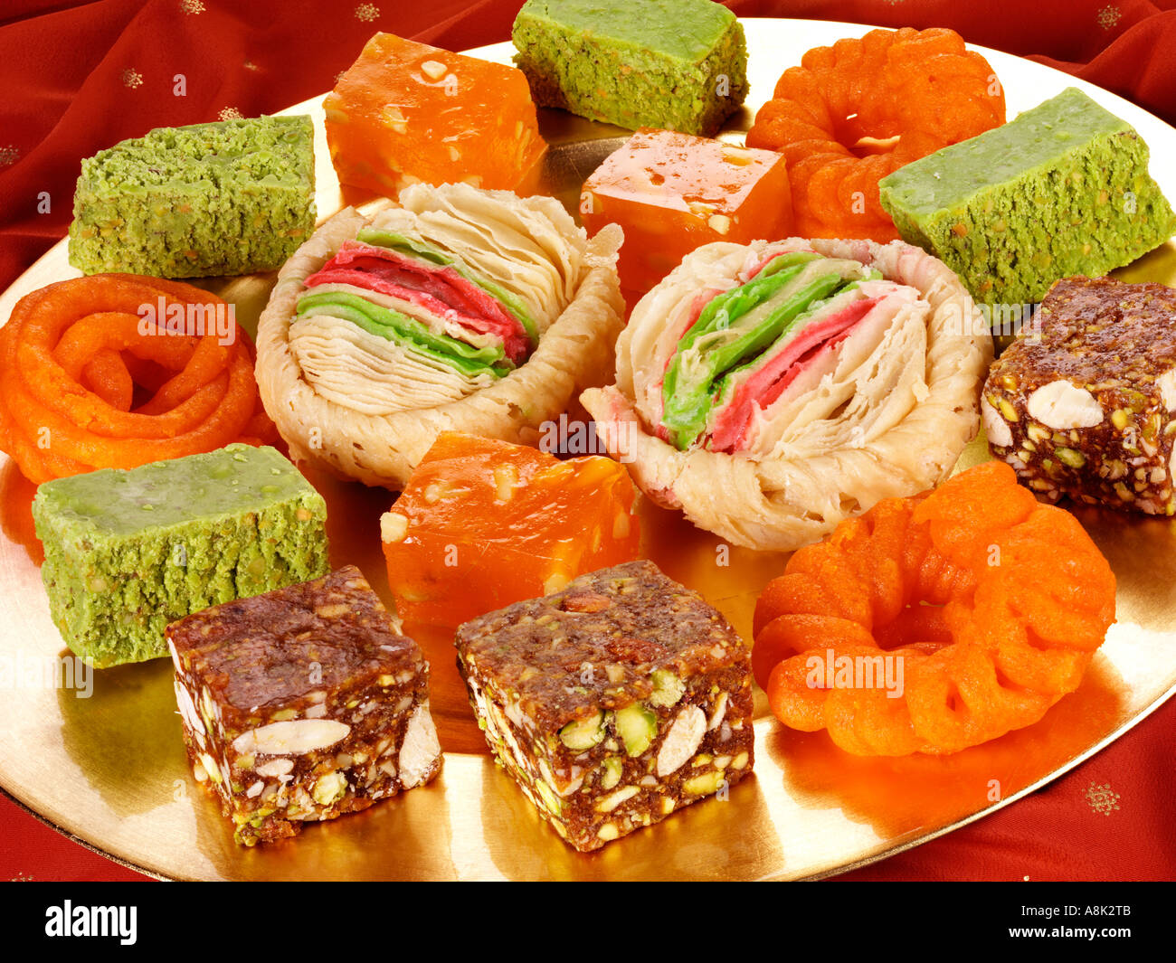 INDIAN SWEETS SELECTION Stock Photo