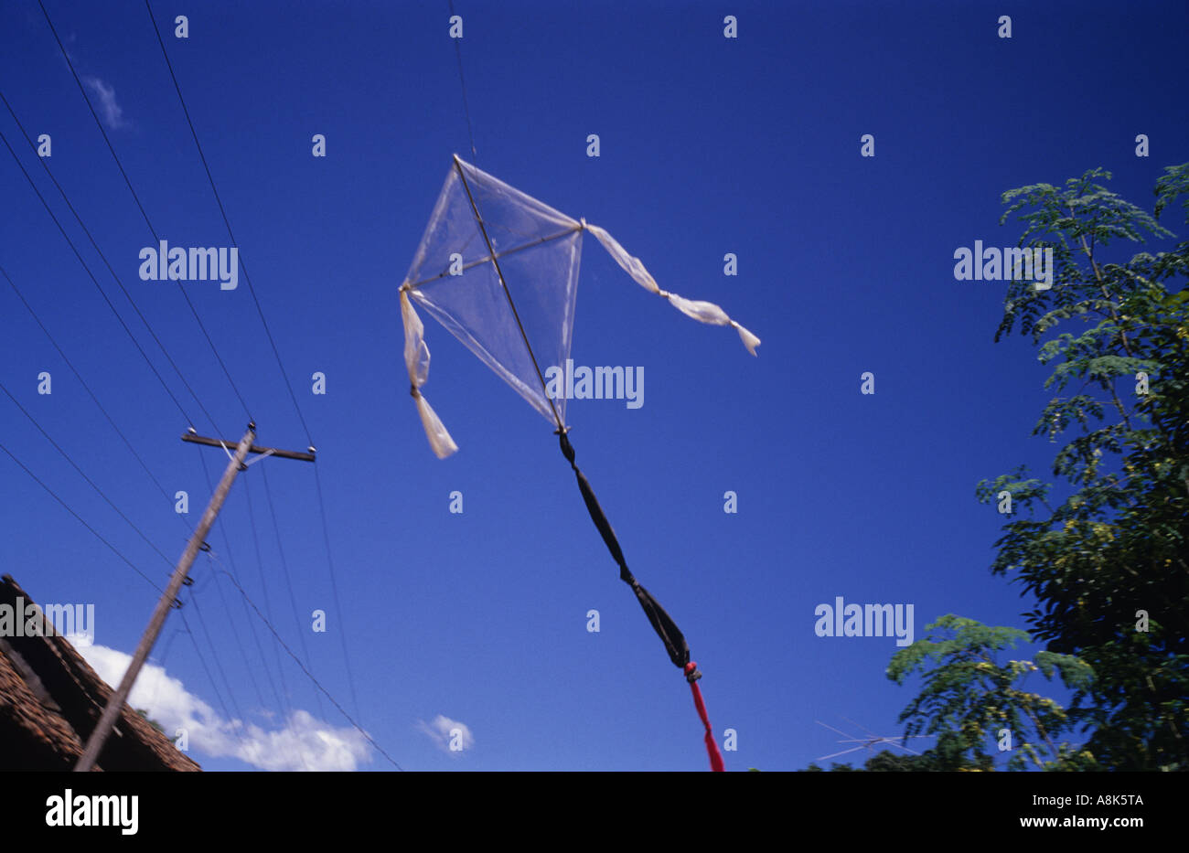 A homemade kite flies above a village in Nicaragua.