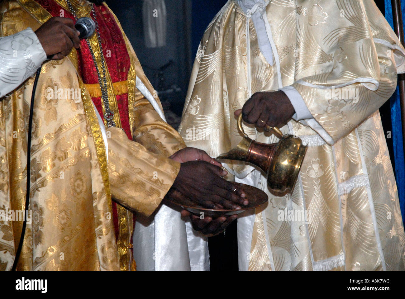 Service at the Ethiopian Orthodox Church in Central London. Stock Photo