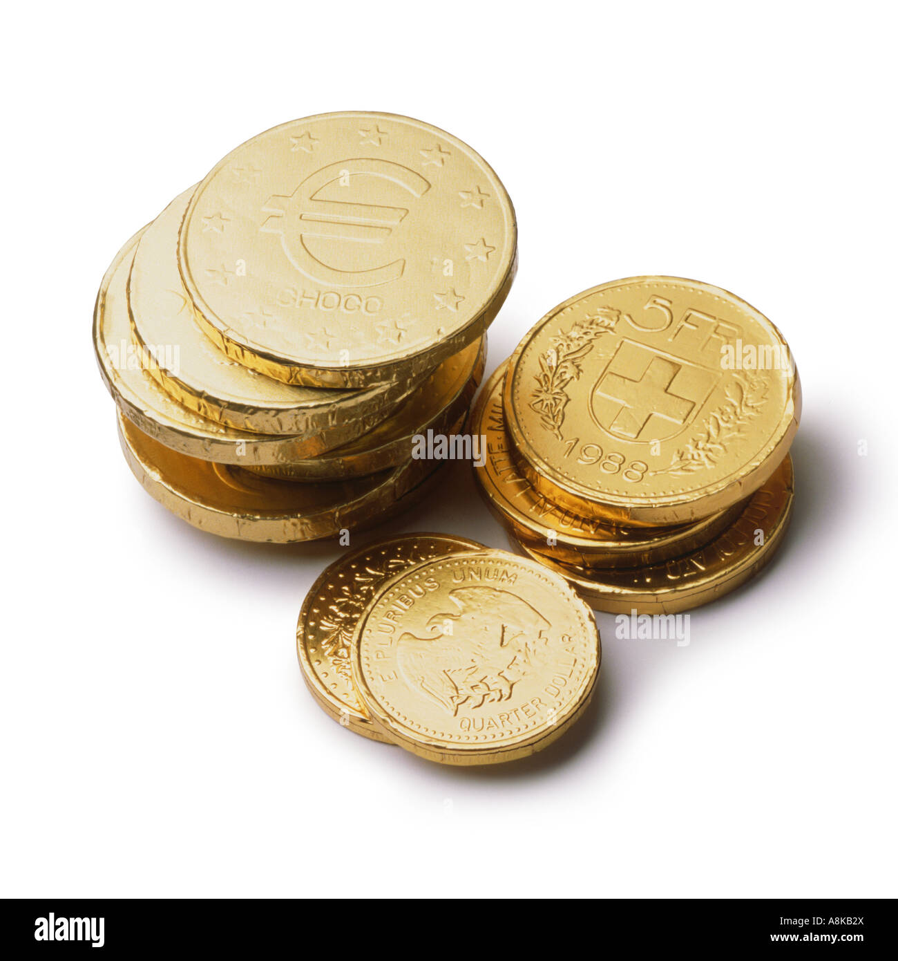 Chocolate money stock photos chocolate money stock images alamy piles of chocolate coins stock image spiritdancerdesigns Image collections