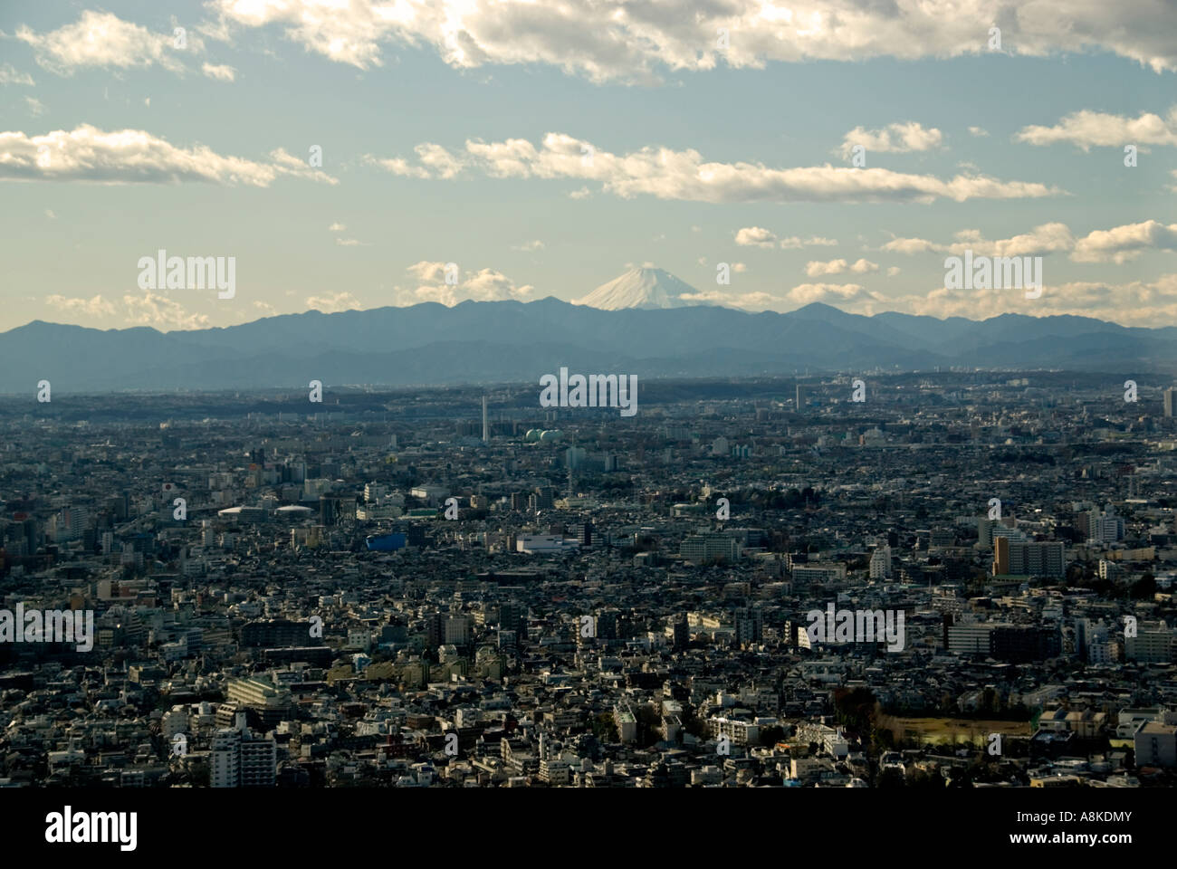 View over Tokyo, Japan, from top of metropolitan goverment office in Shinjuku district. Mount Fuji in distance - Stock Image