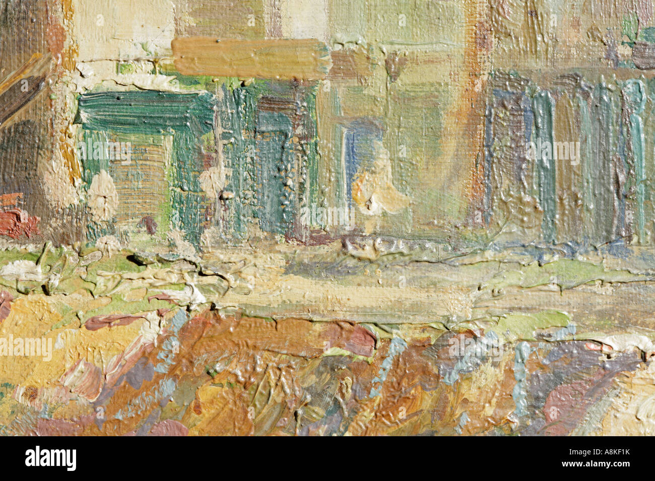 Detail of oil painting backgrounds full frame close up - Stock Image