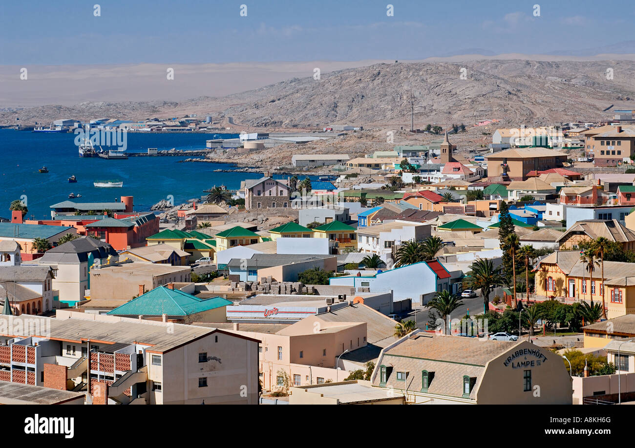 View over the port town of Luderitz in Namibia. - Stock Image