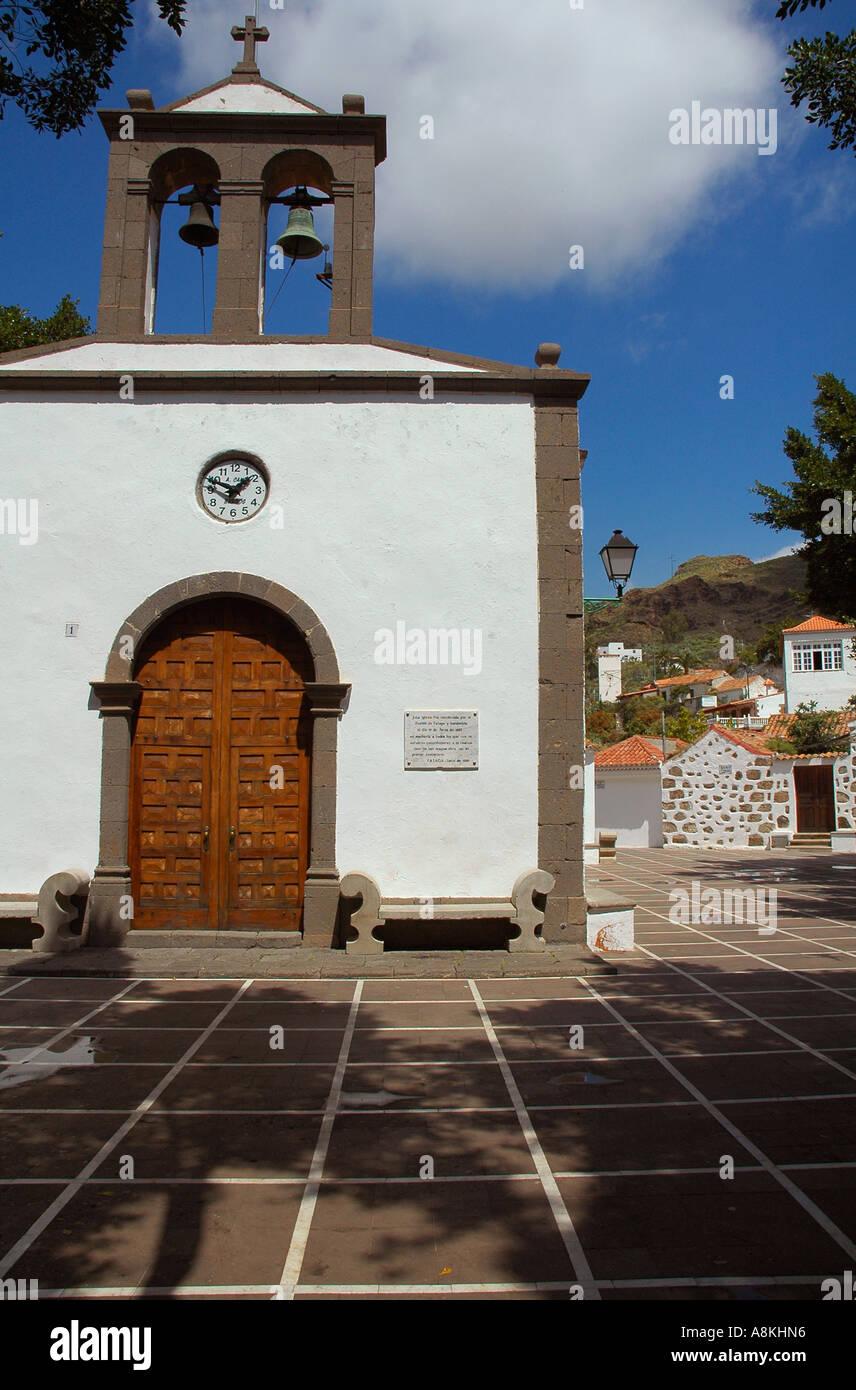 St. Jose Church built in 1880 in Fataga village in the municipality of San Bartolome de Tirajana in Gran Canaria, one of Spain's Canary Islands Stock Photo