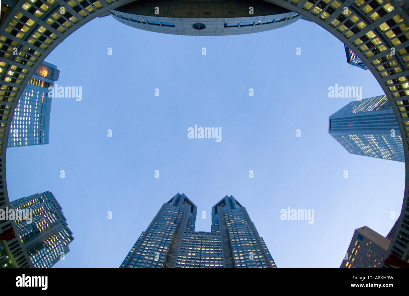 Wide angle view of buildings at Metropolitan City Hall in Shinjuku Tokyo Japan Stock Photo