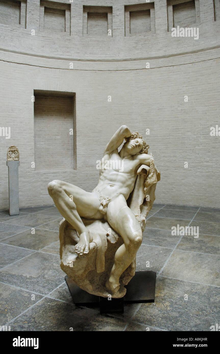 Hall of Faun, the sleeping satyr, Glyptothek, Munich, Bavaria, Germany - Stock Image