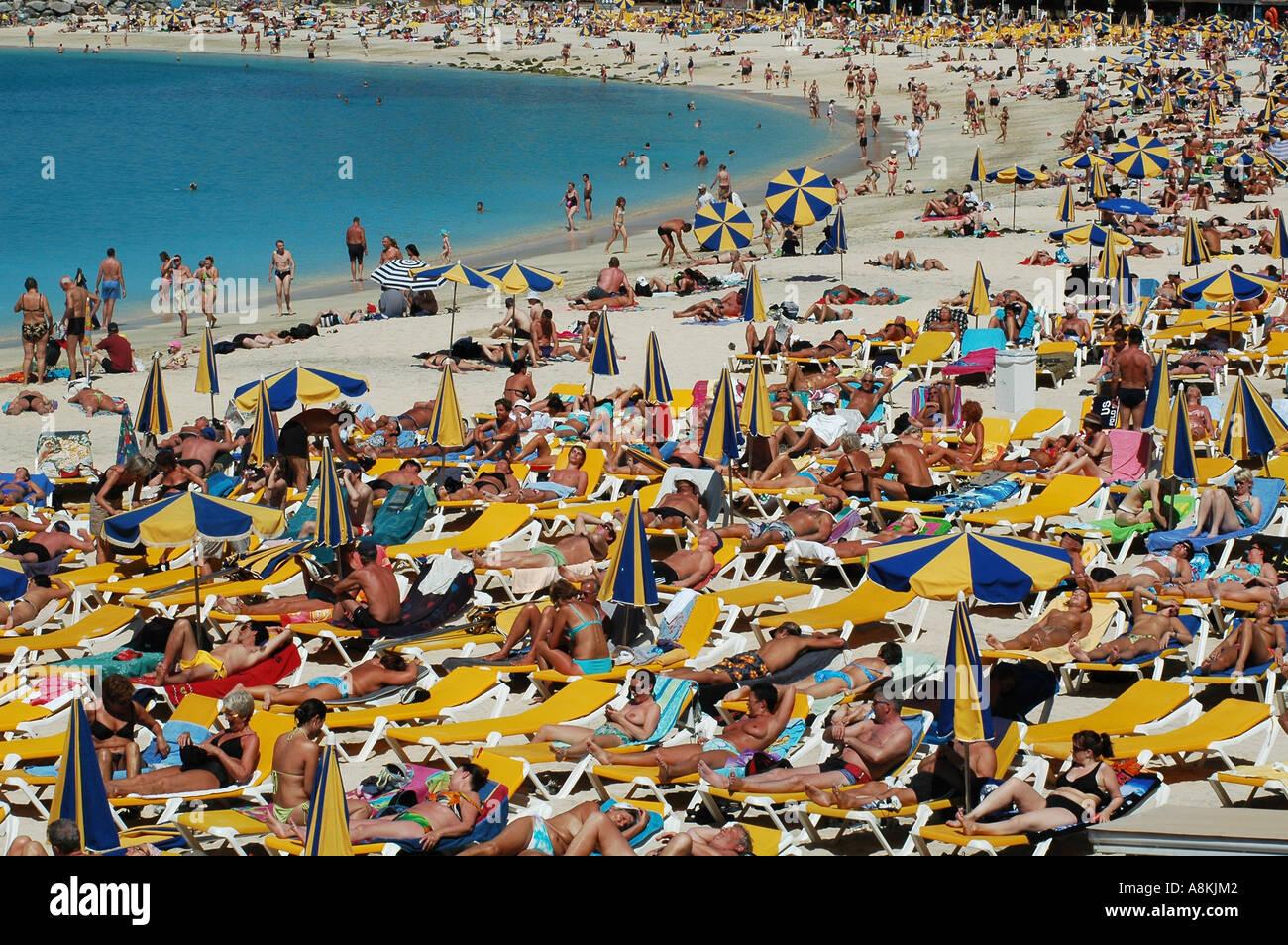 Pakket Crowded Beach Coast Seacoast Canary Island Density-1033