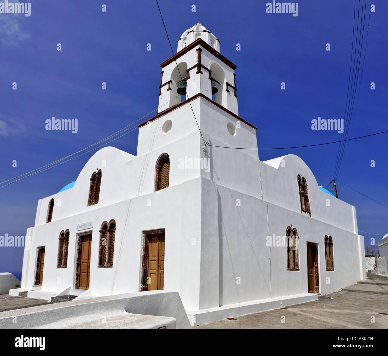 Church Agios Konstantinos, Manolas, Thirassia, Santorini, Greece - Stock Image