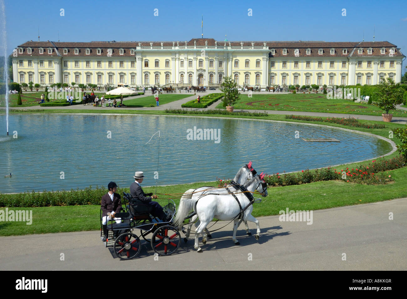 Horse-drawn carriage in front of Ludwigsburg Palace, Ludwigsburg, Baden-Wuerttemberg, Germany, Europe Stock Photo