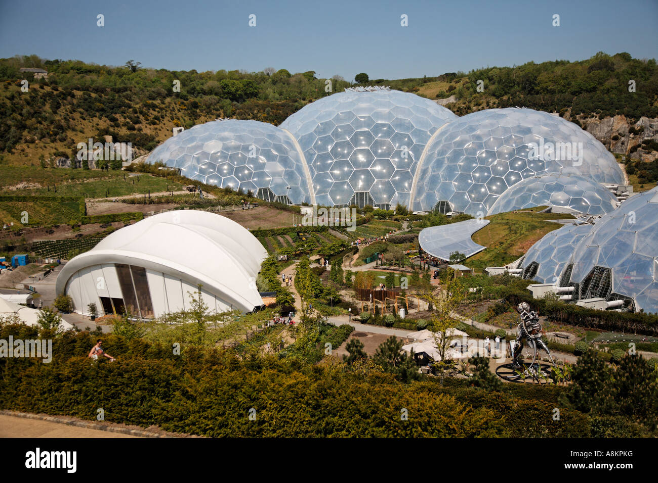 Wide View Of Domes At The Eden Project Cornwall U.K. Europe - Stock Image