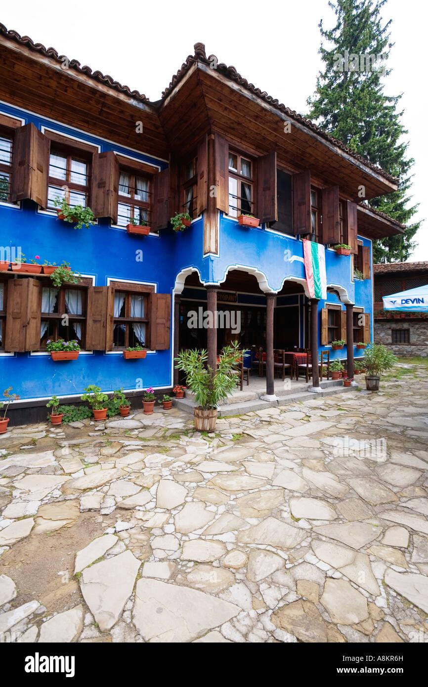Blue house, museum town Koprivstiza, Bulgaria - Stock Image