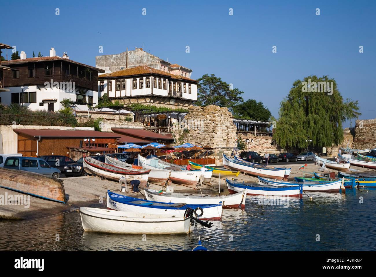 Southern harbour, Town museum Nesebar, Black Sea, Bulgaria - Stock Image