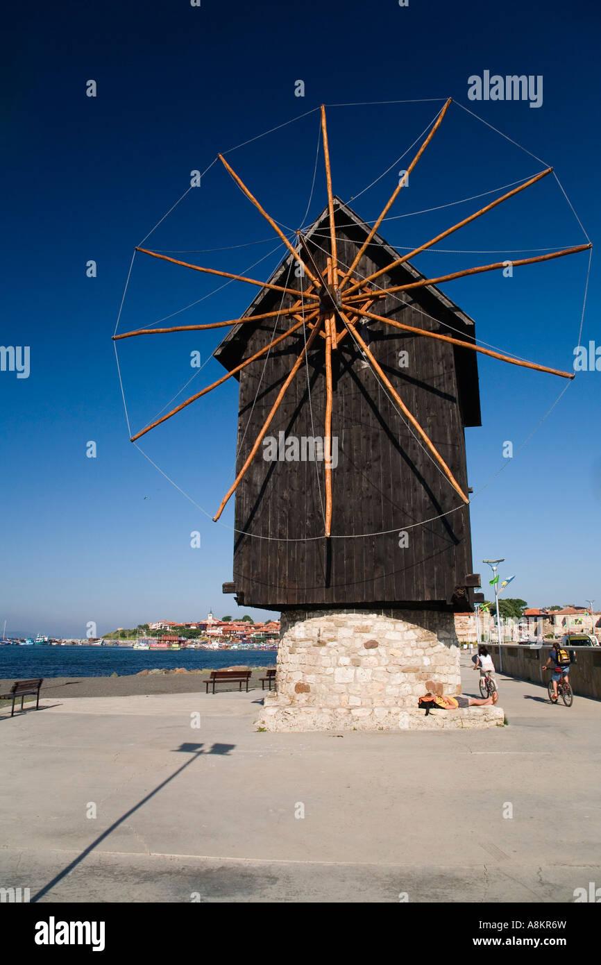 Wind mill of Nesebar, Black Sea, Bulgaria - Stock Image