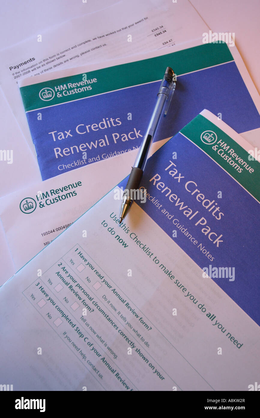 child tax credit application forms stock photo 12129070 alamy