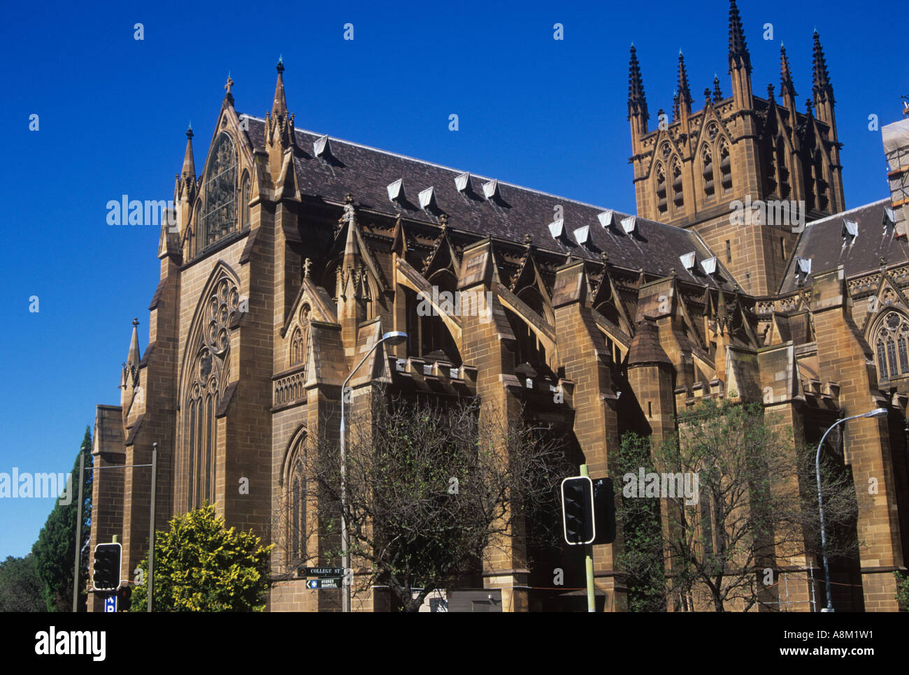 St Mary`s Catholic cathedral in Sydney, foundation stone laid by Governor Macquarie 1821 - Stock Image