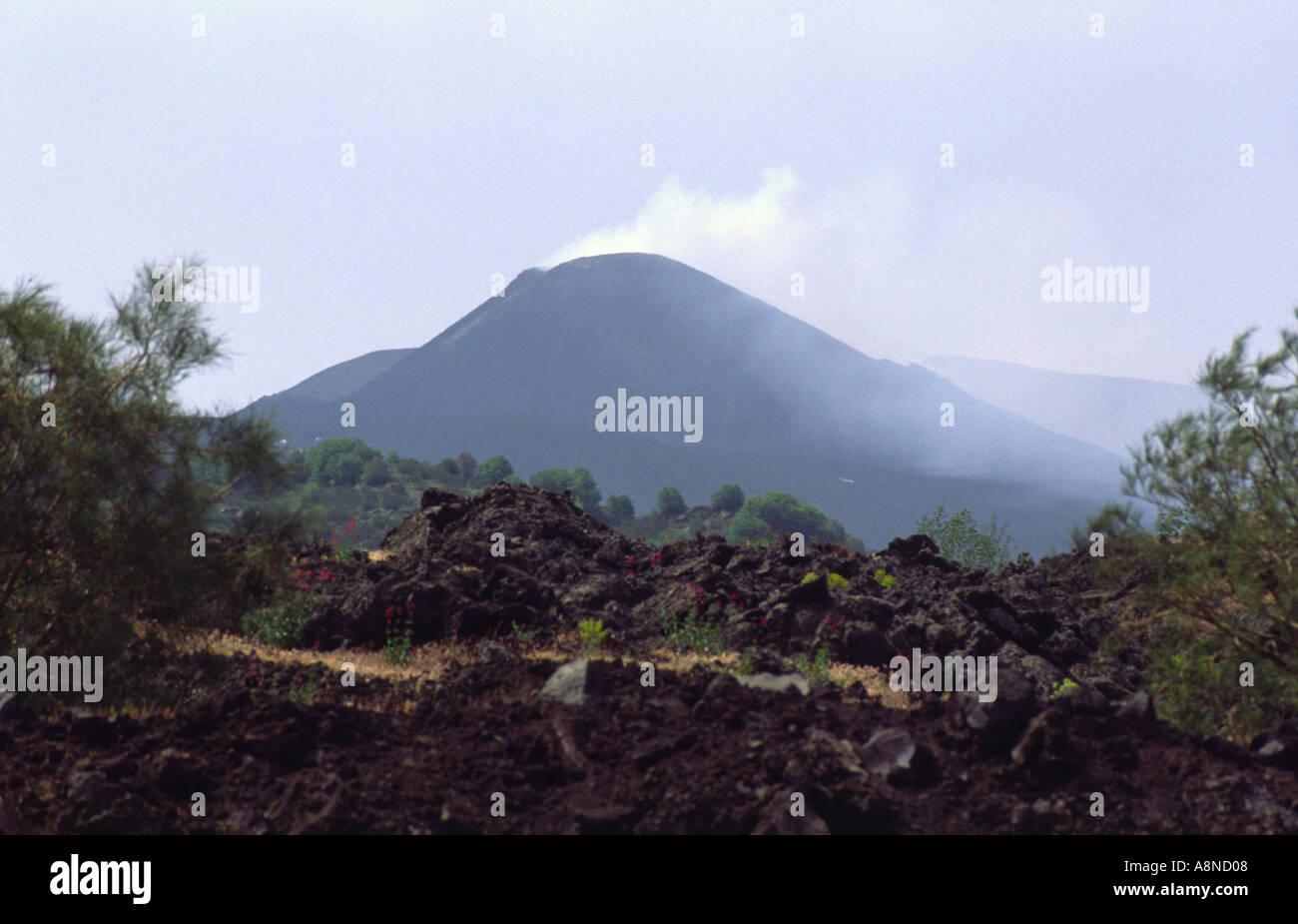 Activ Volcano Mount Etna Sicily Italy - Stock Image