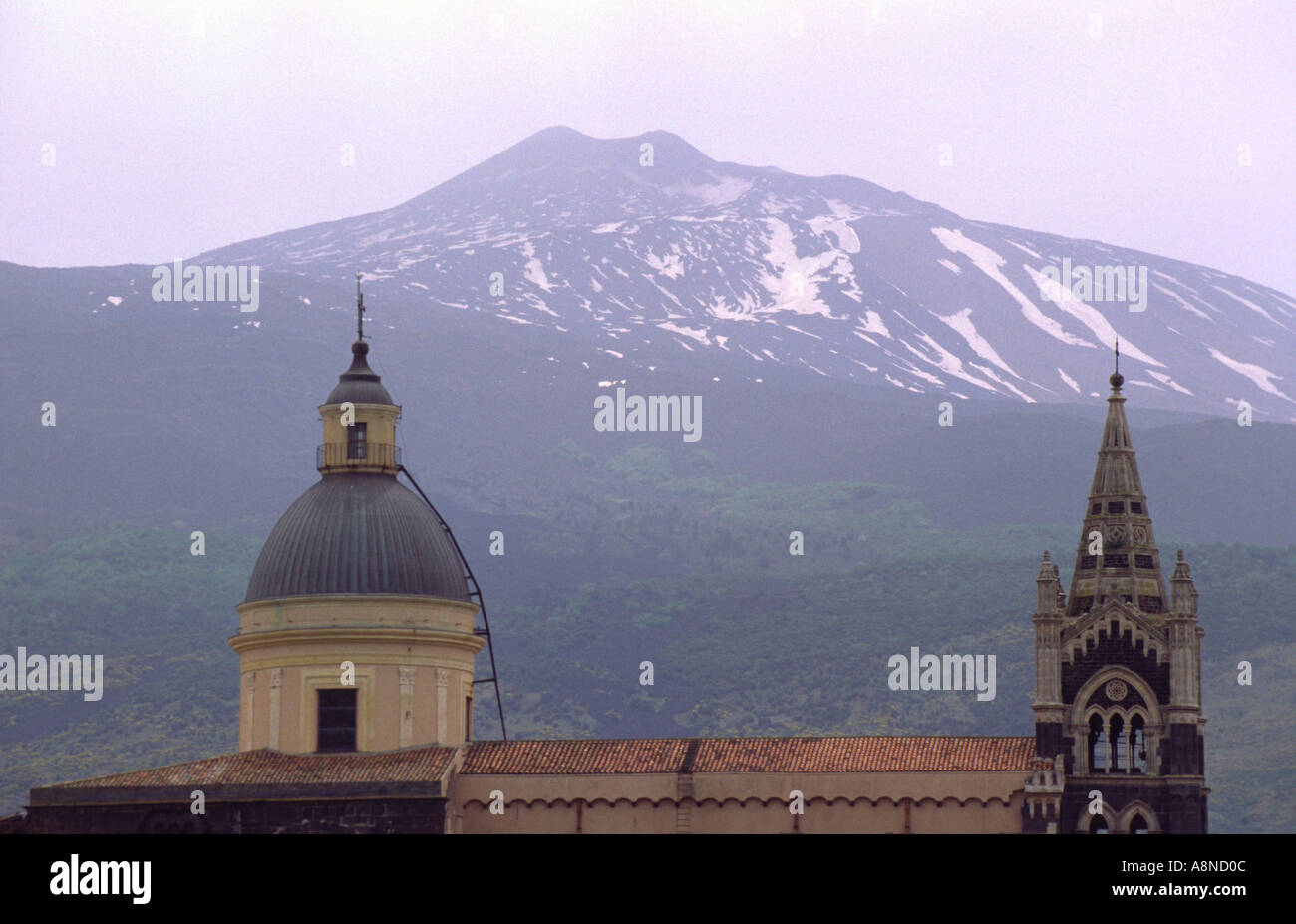 Church Roof of Randazzo and Mount Etna Sicily Italy - Stock Image