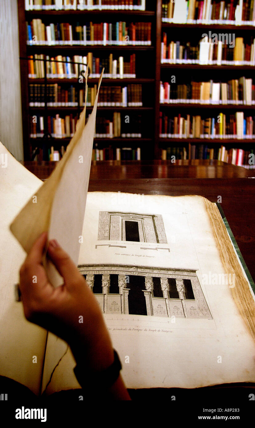 Egypt- 'Description de l´Egypte' book, at the library of the IFAO, at Cairo. - Stock Image