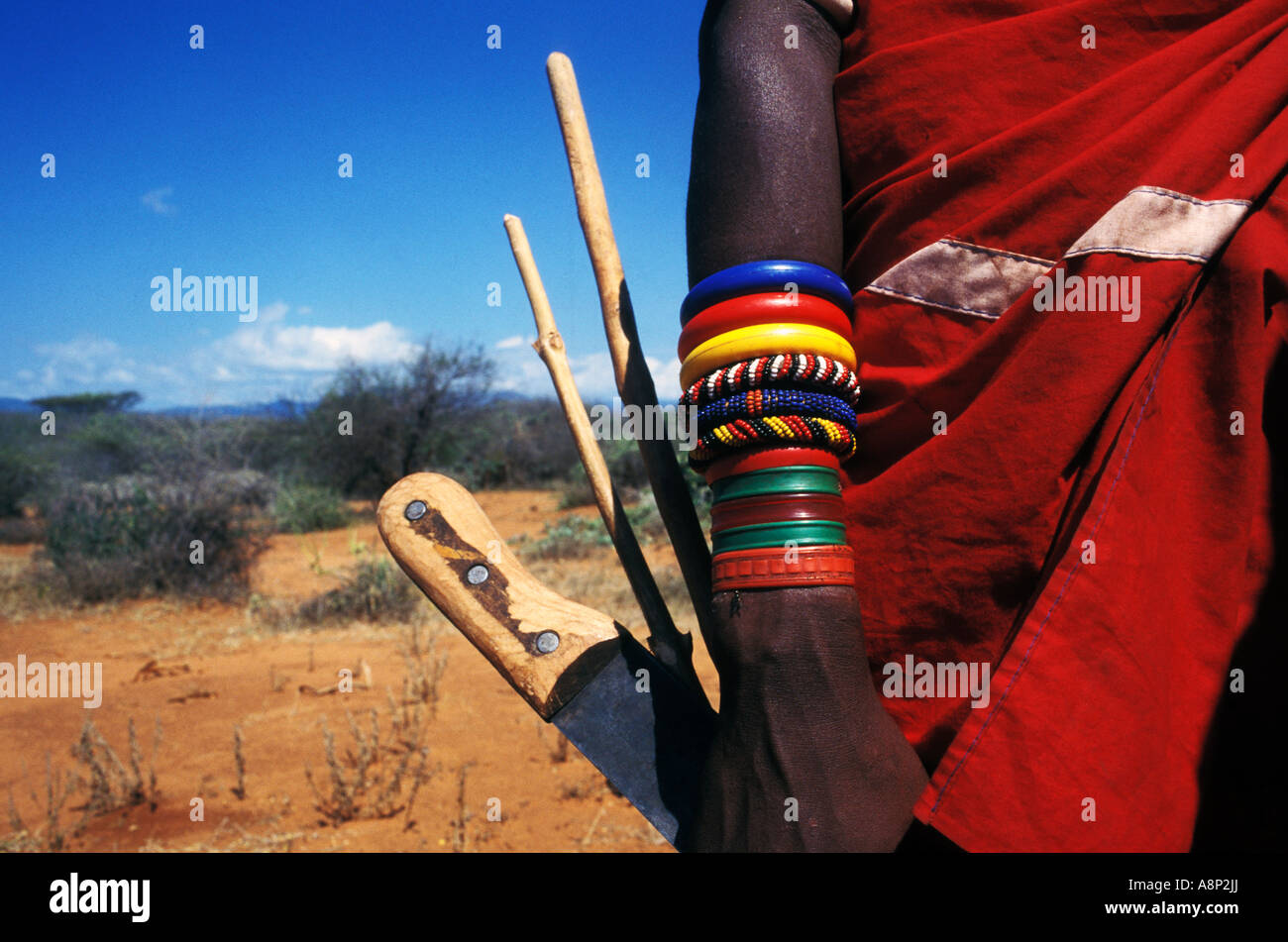 samburu girl's weaponry and tools, kenya - Stock Image