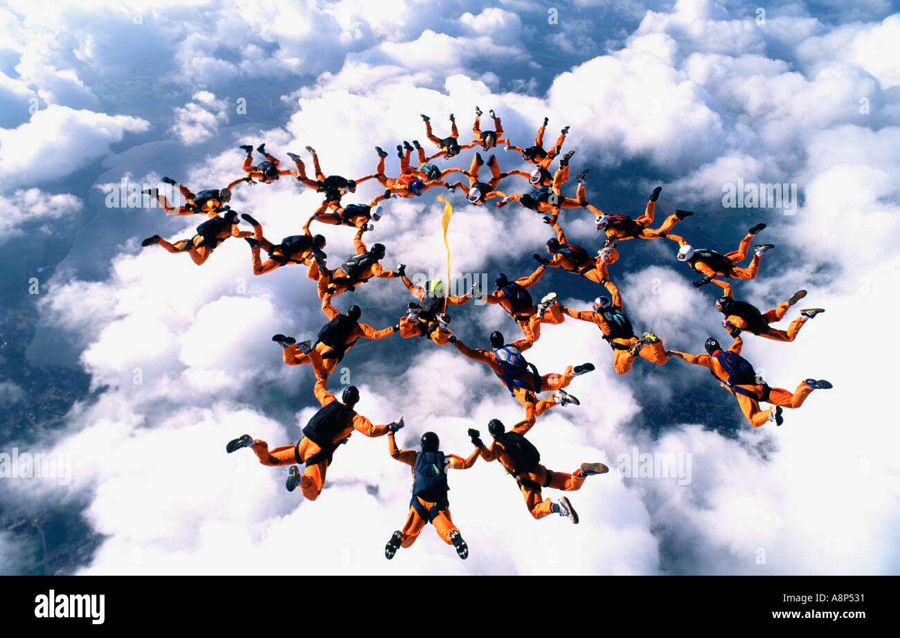 Freefalling toward clouds - Stock Image
