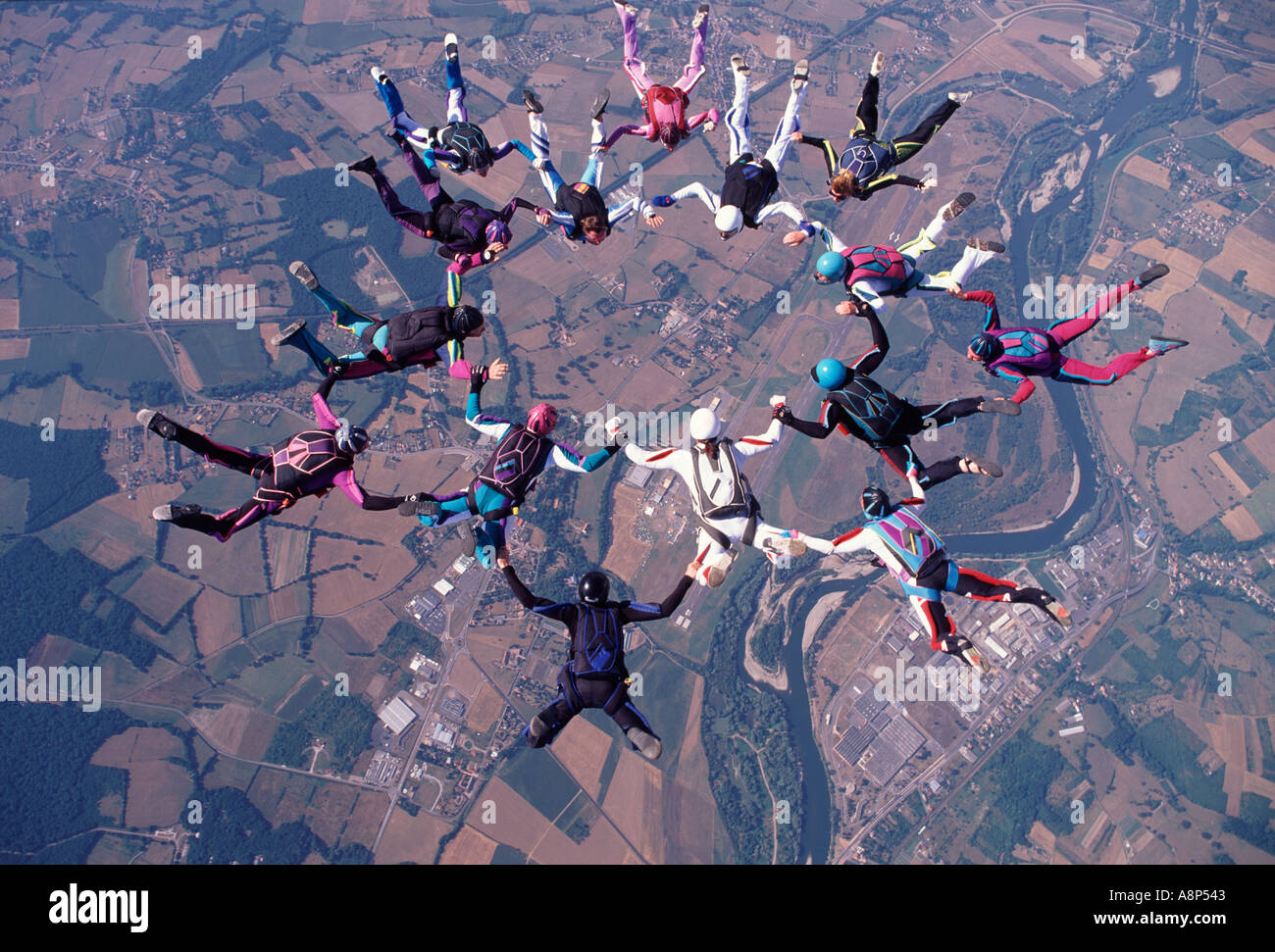 Freefall formation above Vichy France - Stock Image