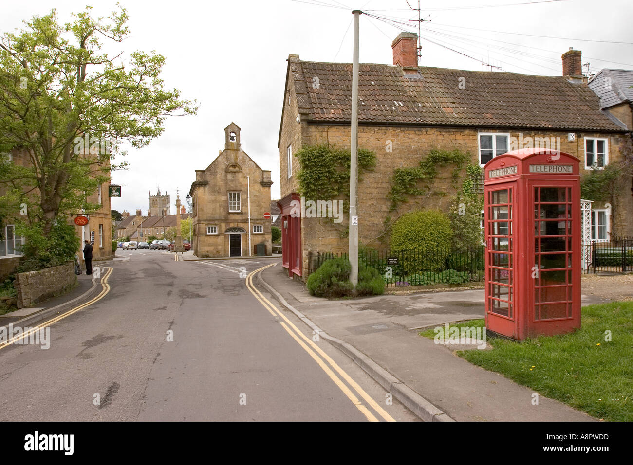 England Somerset Martock town centre and Market Hall - Stock Image