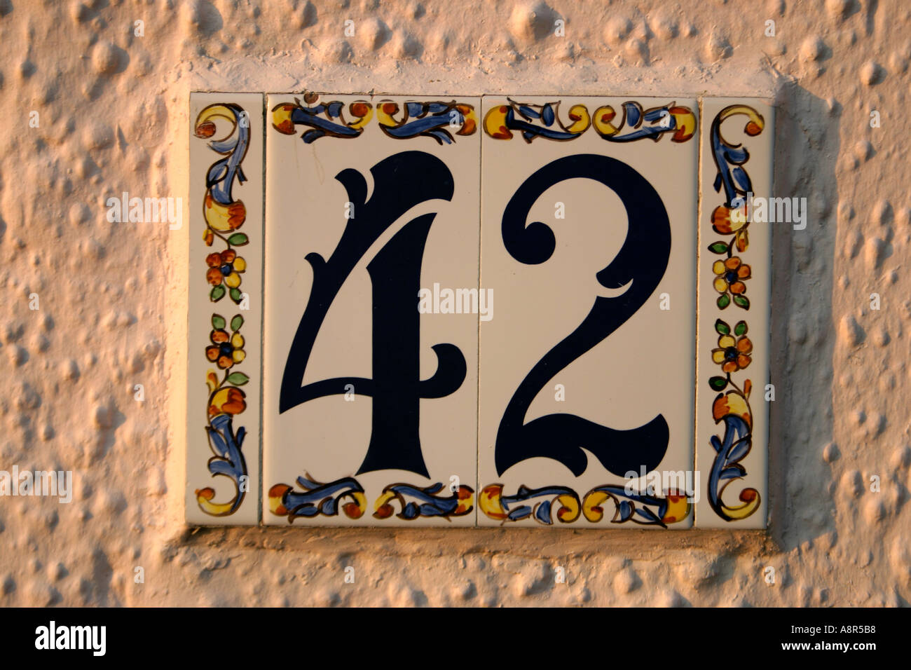 House Number Tile No 42 - Stock Image