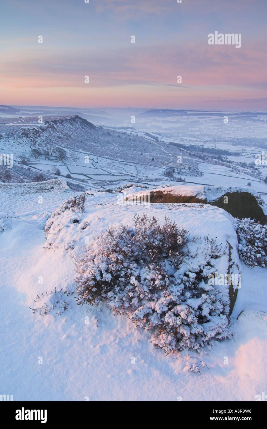 snow early morning on Froggatt edge Derbyshire Peak District National park Calver England UK GB EU Europe Stock Photo
