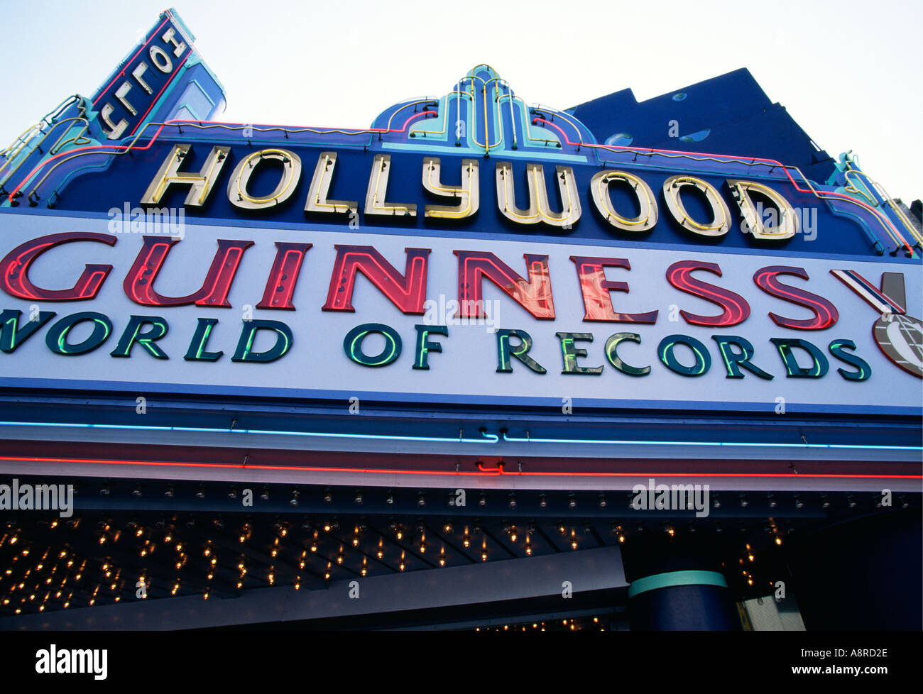 Guinness World Records Museum name above entrance on Hollywood Boulevard Los Angeles California USA - Stock Image