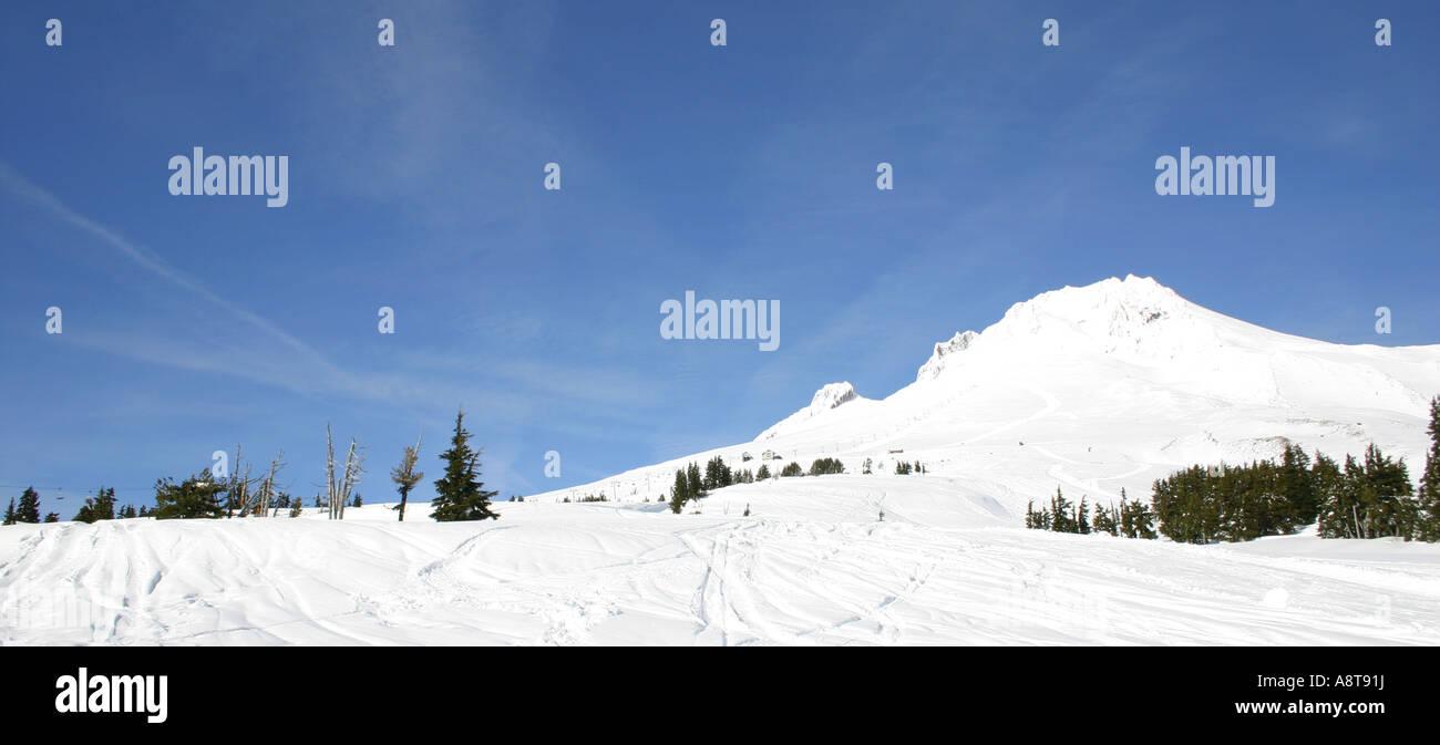 Mount Hood, Oregon -- White, Pure, and Beautiful, a Very Popular Ski & Snowboard Resort. - Stock Image