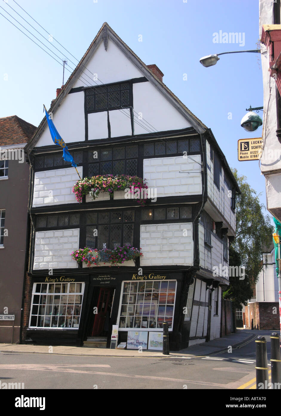 leaning wood framed building in Canterbury Kent - Stock Image