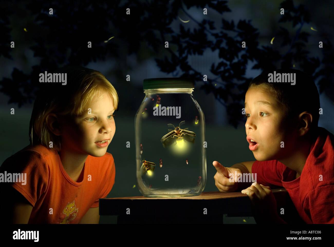 Captured Fireflies - Stock Image