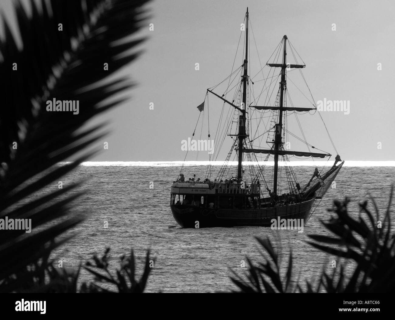 Pirate tourist cruise ship Tenerife Canary Islands, at Los Cristianos - Stock Image
