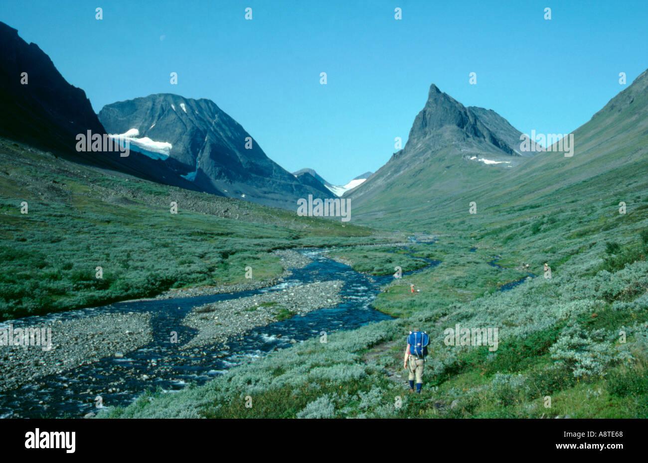 Nallo from Unna Raitavagge valley, Kebnekaise, Lappland, Norrbottens Län, arctic Sweden.Stock Photo