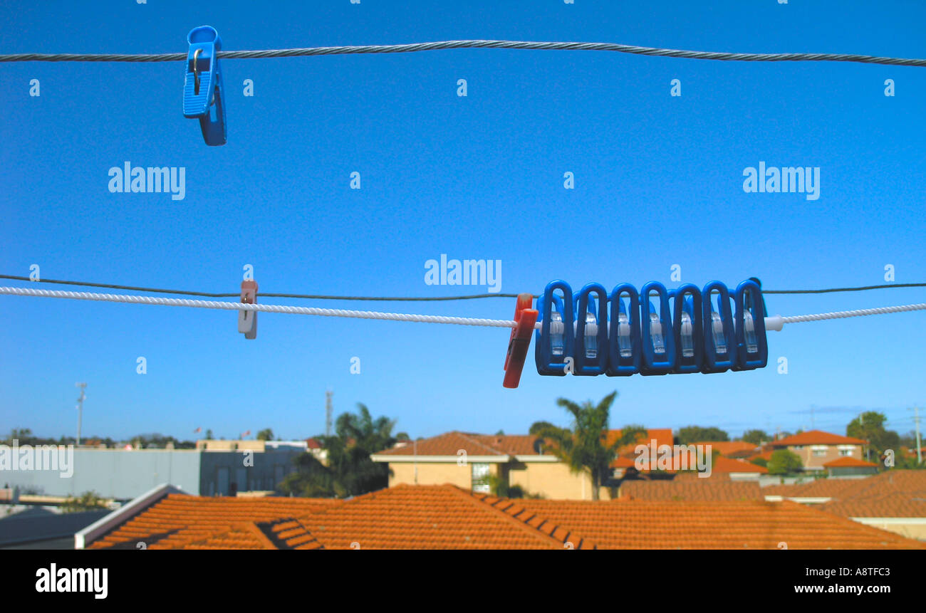 Pegs in the sky - Stock Image