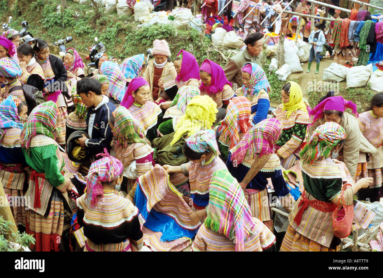 Overhead view of crowd of traditionally dressed Flower Hmong women at the Saturday market, Can Cau, NW Viet Nam Stock Photo