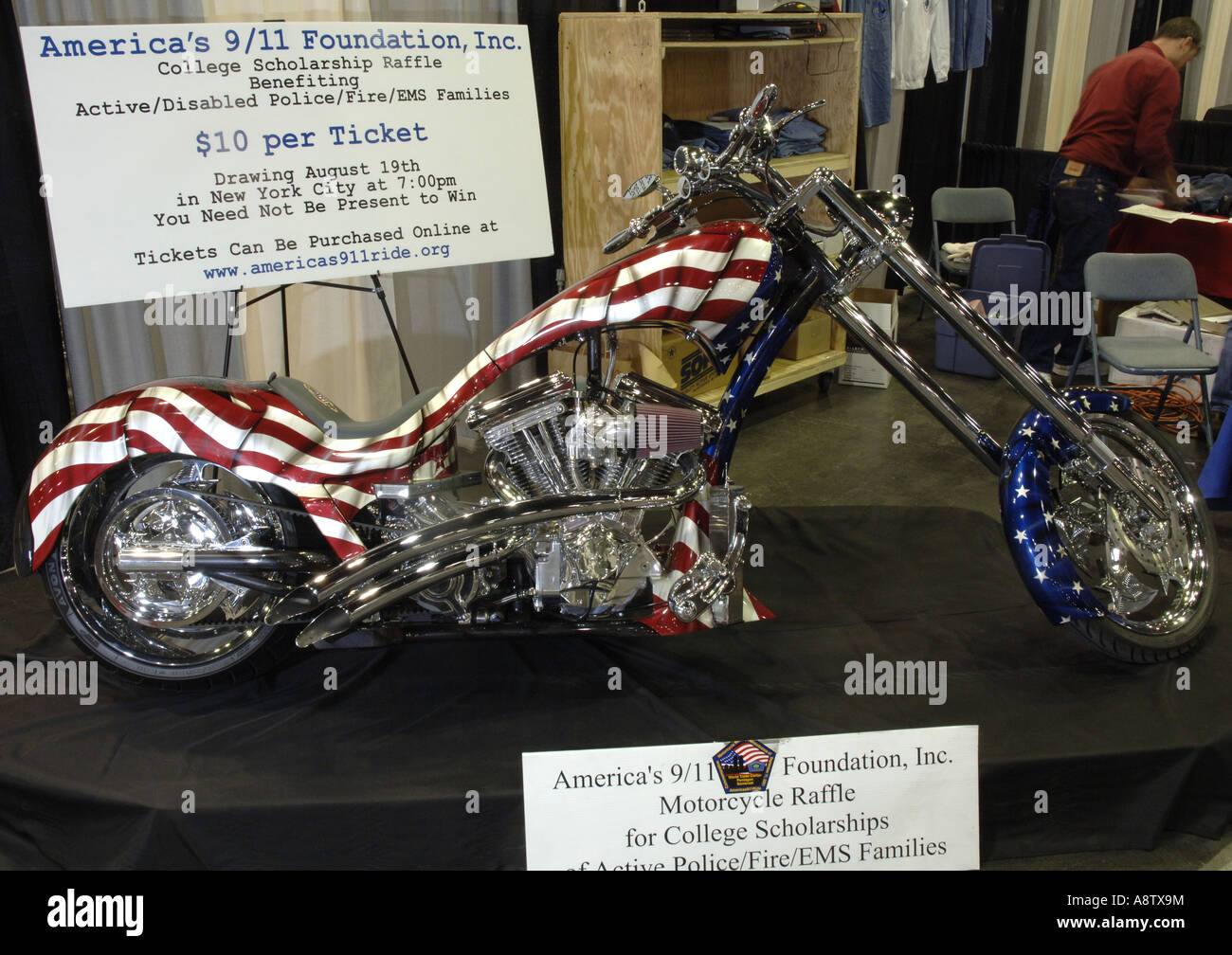 Motorcycle Show Custom chopper auctioned off by America's 9/11 Foundation for rescue victims. - Stock Image