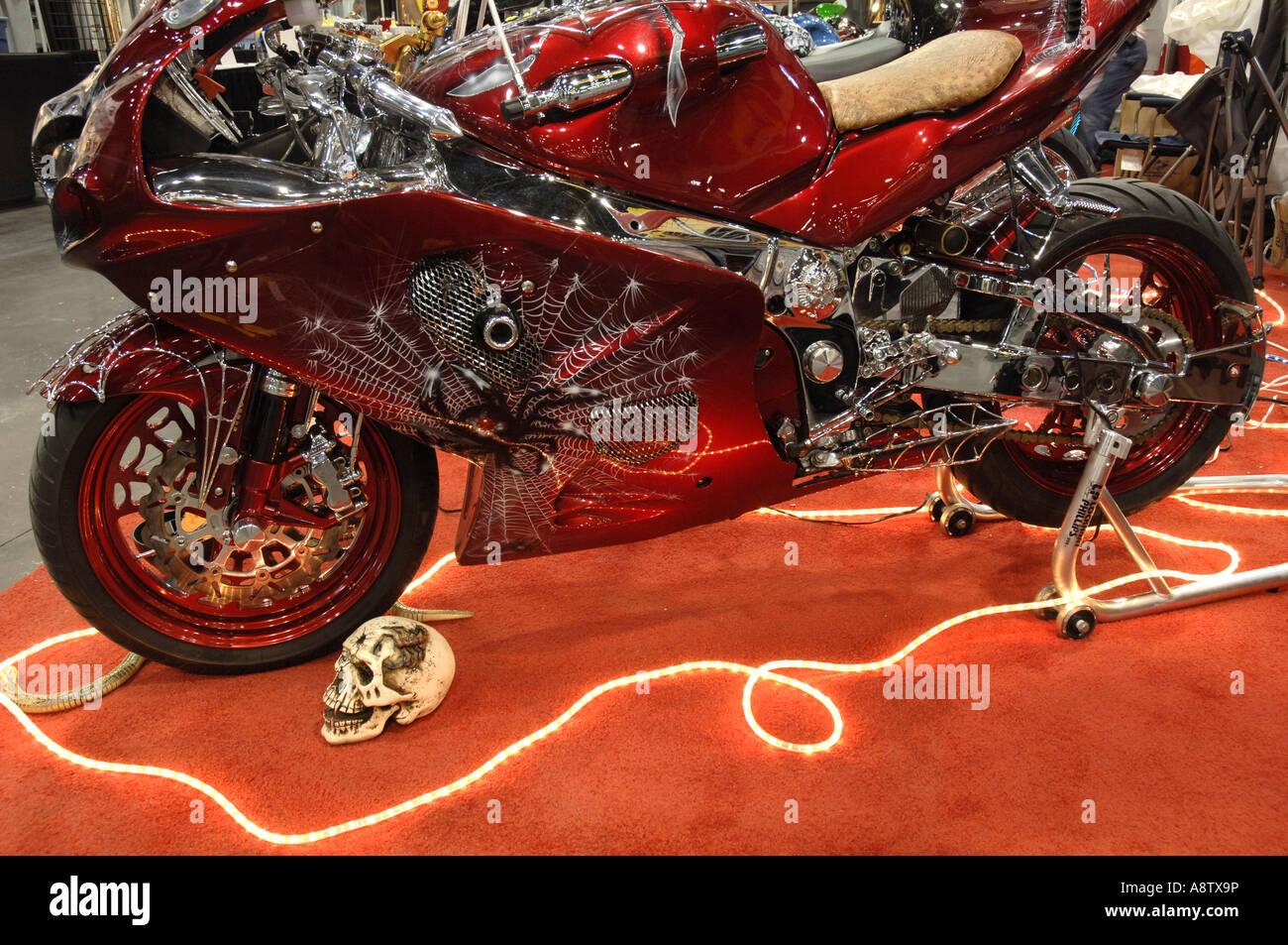 Motorcycle Show Custom Paint Job On A Halloween Bike