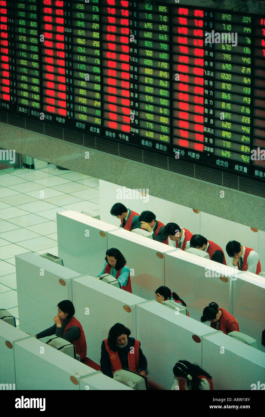 China. Shenzhen Stock Exchange. High viewpoint of dealers. - Stock Image