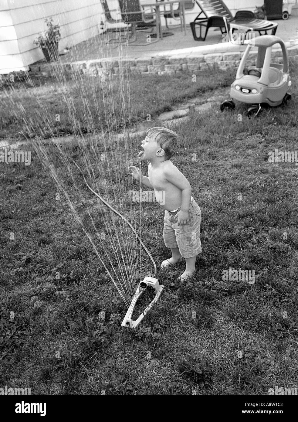 Small boy playing with lawn sprinkler drinking water and cooling off on a hot summer day in his backyard - Stock Image