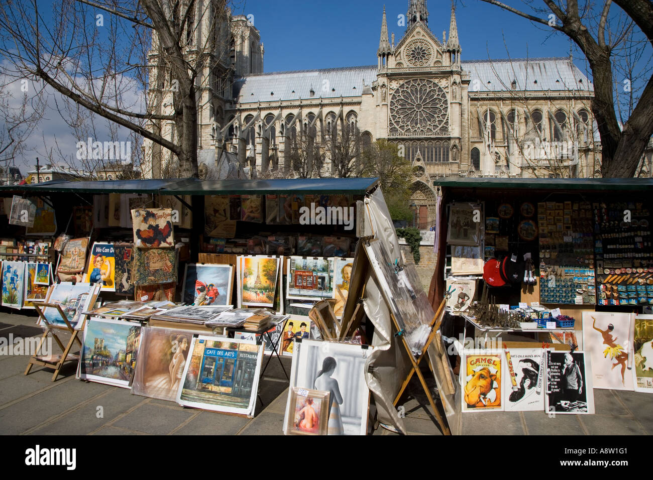 Notre Dame Paris France & Street Market Stock Photo