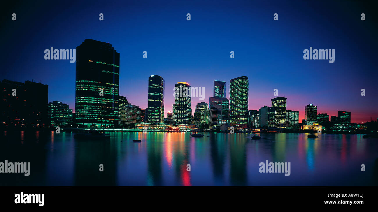 Travel Australia Queensland Brisbane City skyline Night - Stock Image