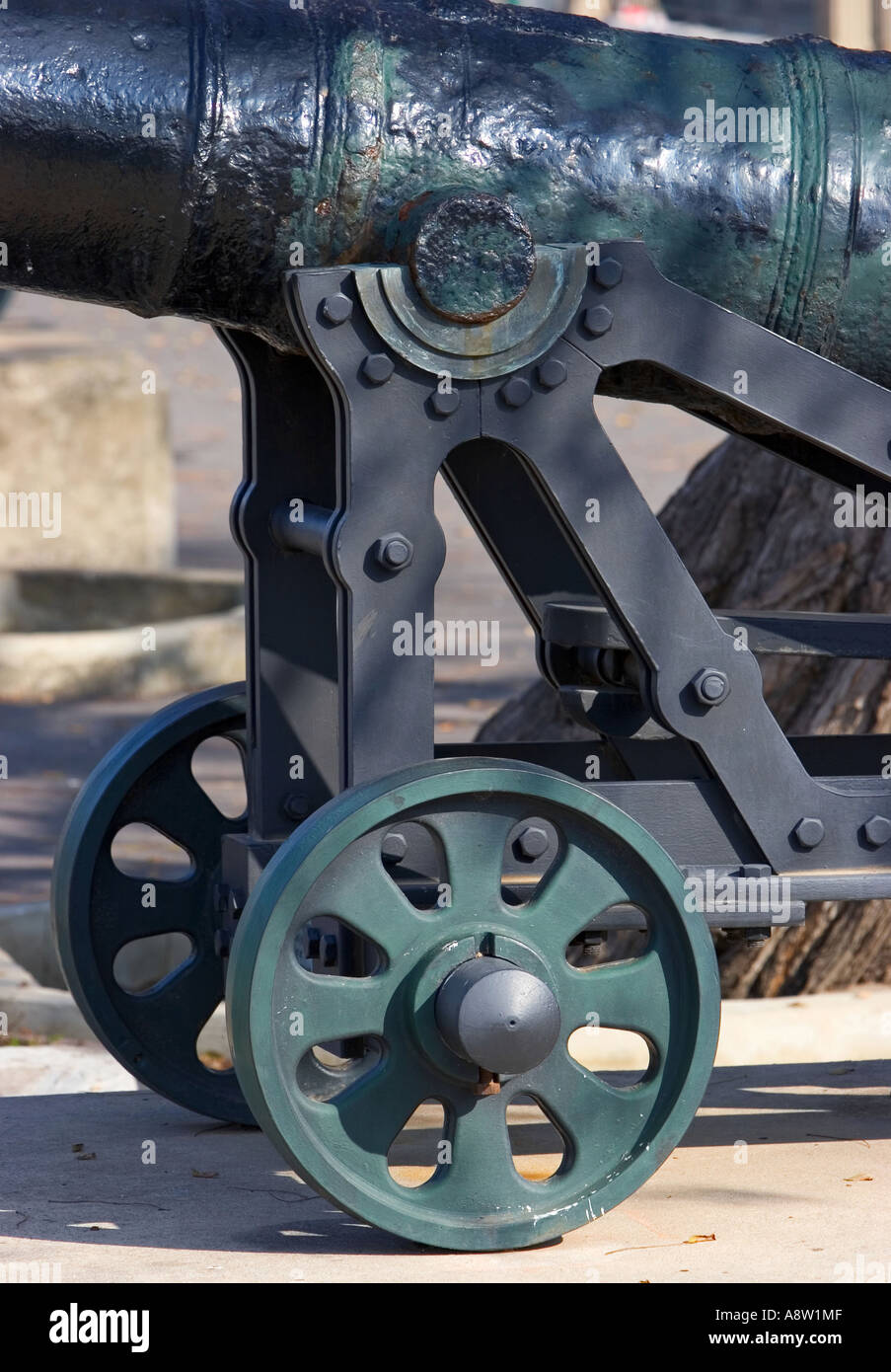 Original cast iron and historical cannon in Gibraltar on a sunny day - Stock Image